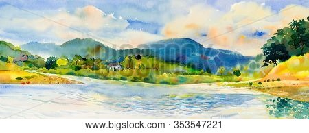 Watercolor Landscape Painting Panorama View Colorful Of River And Mountain Forest With Sky Cloud  Ba
