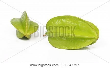 Star Fruit Isolated On White Background. Averrhoa Carambola, Star Apple
