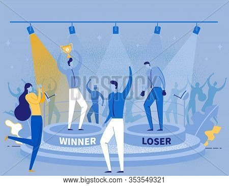 Cartoon Happy Man With Gold Trophy Cup Prize And Upset Frustrated Guy. People In Formal Suits With T