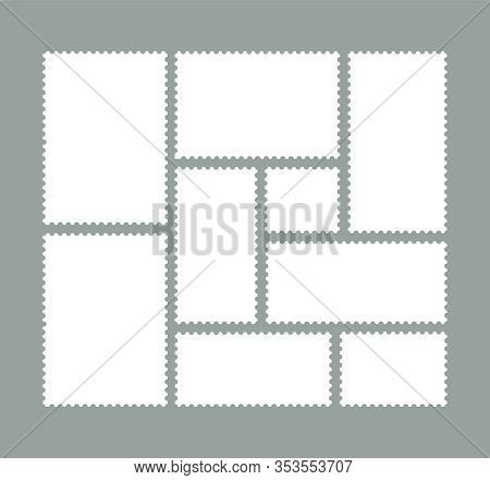 Set Of Postage Stamps, Blank Postage Stamps.