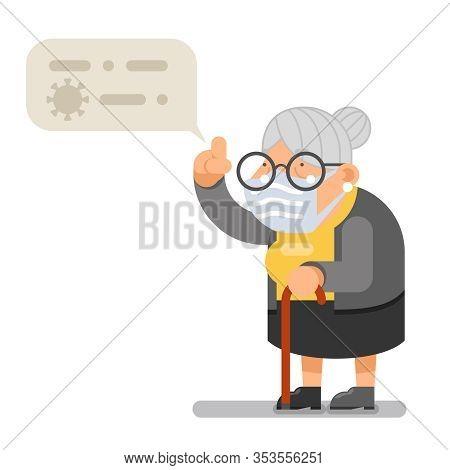 Medical Mask Coronavirus Hazard Wise Teacher Guidance Granny Old Lady Character Cartoon Flat Design