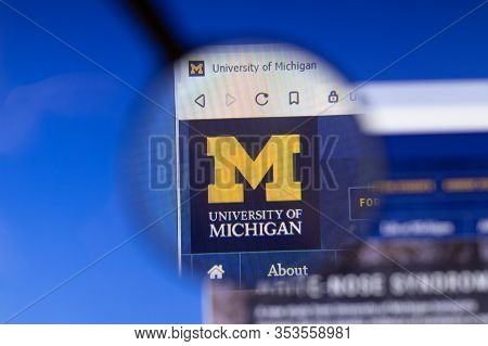Los Angeles, California, Usa - 3 March 2020: University Of Michigan Website Homepage Logo Visible On