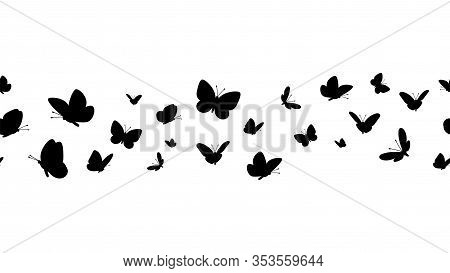 Flying Butterflies Silhouettes. Butterfly Seamless Border. Black Forest And Garden Insects Vector Pa