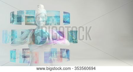 Video Wall Digital Marketing as a Business Concept 3D Render
