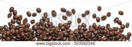 Roasted Arabica Coffee Beans Isolated On White Background. Group Of Brown Grains.