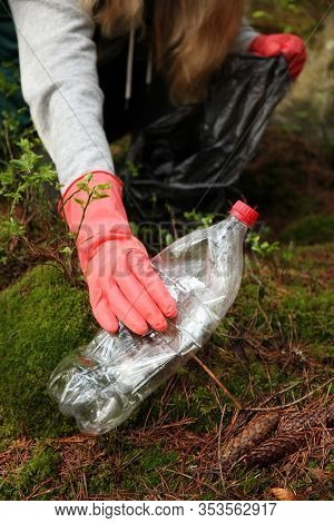 Garbage Dump In Forest, Environmental Pollution By Plastic.