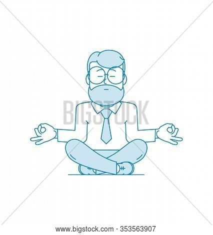Man Is Meditating Sitting On The Floor With Legs Crossed. Character - A Man With A Beard And Glasses