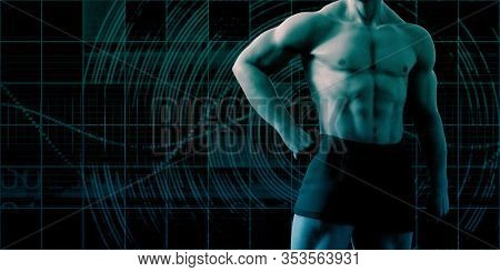 Fitness Man with Weight Management Training Abstract 3D Render