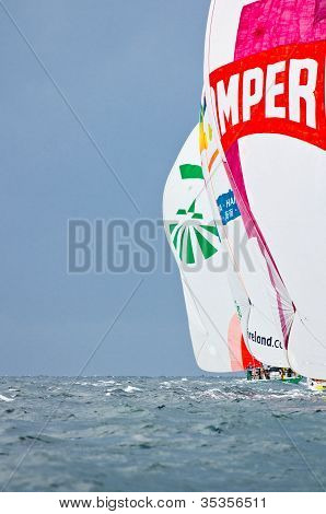 Groupama And Camper Under Spinnaker  (volvo Ocean Race 2011-2012)