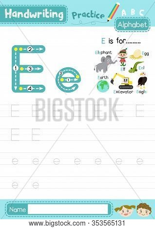Letter E Uppercase And Lowercase Cute Children Colorful Abc Alphabet Trace Practice Worksheet For Ki