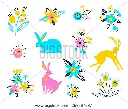 Vector Hares On A White Background. Multi-colored Rabbits For Easter Design. Cute Ostern Rabbit Vect