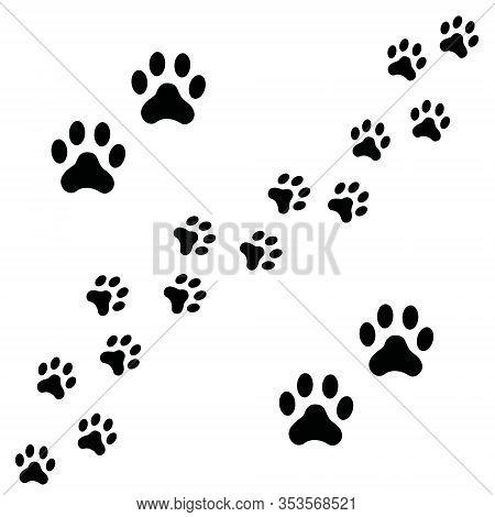 Black Footpath Trail Of Dog Prints Walking Randomly. Animal Footprints, Dog Or Cat Paws Print Isolat