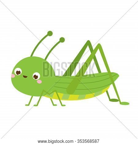 Cute Grasshopper. Cartoon Insect Character. Vector Illustration