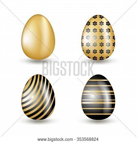 Gold Eggs Collection With Black Geometric Pattern