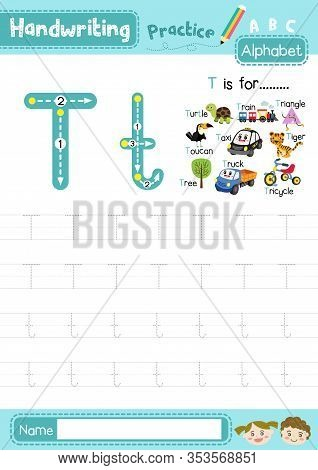 Letter T Uppercase And Lowercase Cute Children Colorful Abc Alphabet Trace Practice Worksheet For Ki
