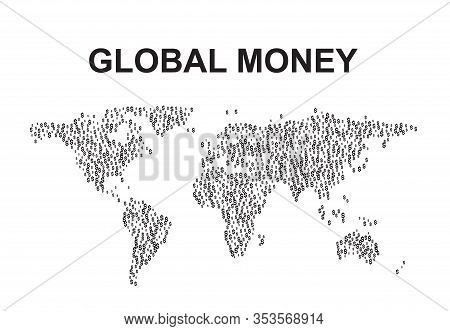 World Map Made Of Dollar Signs  Illustration
