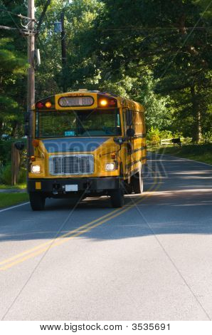 Yellow School Bus Stopped On Country Road