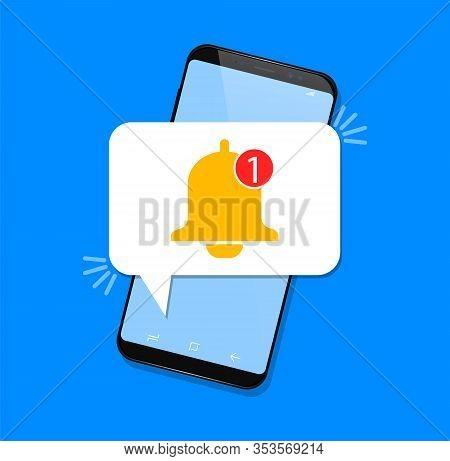 New Notification, Notification Bell Icon - Vector Illustration