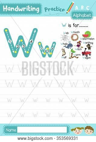 Letter W Uppercase And Lowercase Cute Children Colorful Abc Alphabet Trace Practice Worksheet For Ki