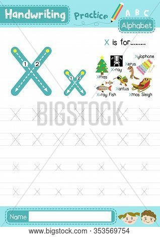 Letter X Uppercase And Lowercase Cute Children Colorful Abc Alphabet Trace Practice Worksheet For Ki