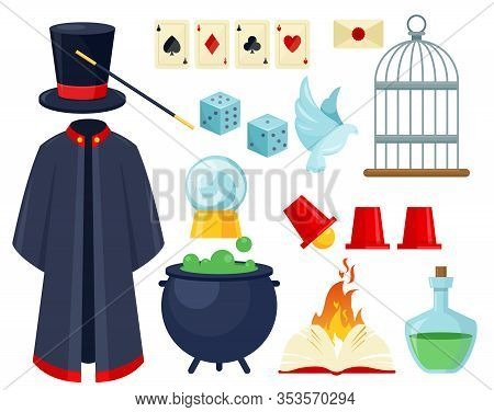 Magician Items Flat Vector Illustrations Set. Illusionist Mantle, Cylinder Hat And Stick Isolated Pa