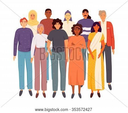 Multinational Group Of People Isolated On White Background. Adults  Stand Together. Vector Illustrat