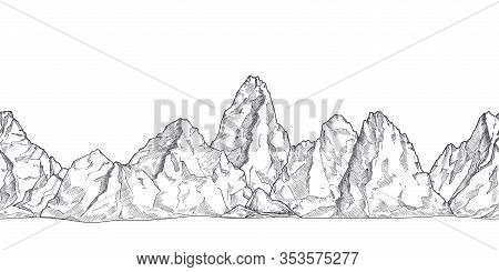 Mountain Range. Outline Nature Drawing, Pencil Sketch Rocky Peaks Panorama. Art Graphics Beautiful L