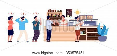 Morning Coffee. People Queue In Cafe. Angry And Happy Office Workers Waiting Drinks Vector Illustrat