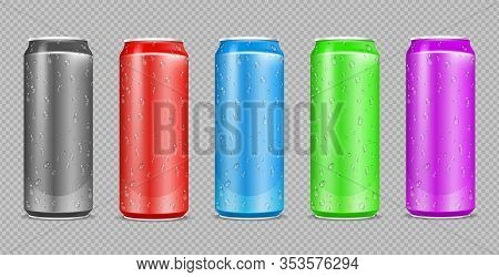 Color Aluminium Cans. Realistic Water Drops On Drink Steel Bottles. Can Isolated On Transparent Back
