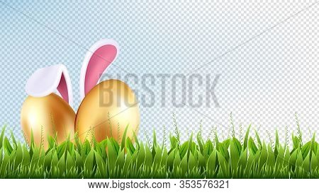 Easter Background. Spring Illustration, Season Decoration. Realistic Isolated Green Grass And Golden