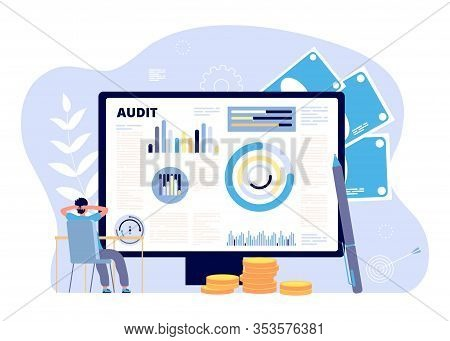 Financial Audit Concept. Business Strategies, Risk Inspect. Economy Research And Analysis, Assessmen