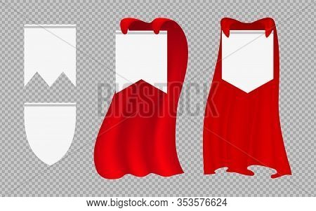 Red Hero Cape. Fashion Costumes And Banner Blanks. Leadership Signs, Man Woman Fabric Cloak. Isolate