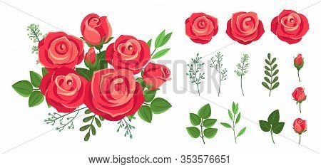 Red Roses Bouquet. Wedding Flowers Decoration. Vintage Isolated Floristic Botanical Elements. Vector
