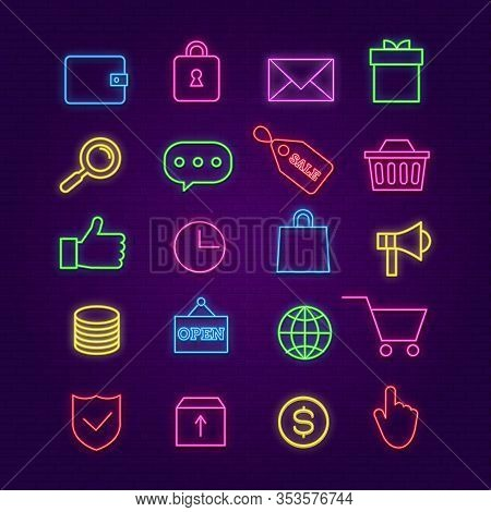 Shopping Neon Icons. E-commerce, Trade Colorful Signs With Glow Effects. Store Cart, Money, Box And