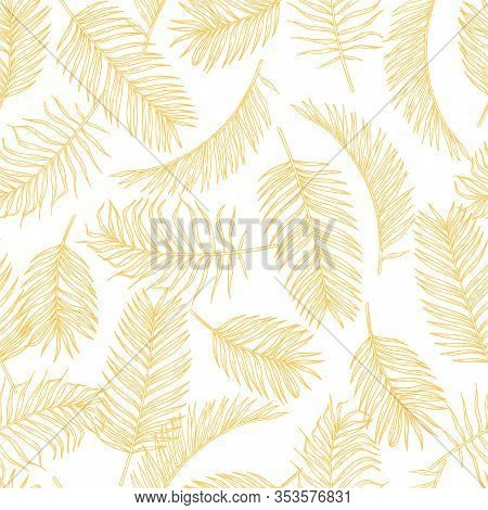 Tropical Leaves Sketch Pattern. Hand Drawn Gold Palm Tree Foliage Background. Exotic Rainforest Foli