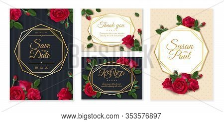 Wedding Card With Roses. Wedding Invitation Card, Elegant Floral Bouquet, Frame With Date And Name T