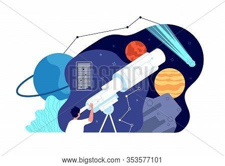 Astronomy Science. Galaxy Explore, Discover Star. Male Exploration Universe, Sputnik Cosmos. Male Lo