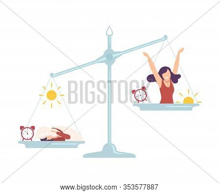 Sleepyhead Girl On One Side Of Scales, Early Riser Girl On The Other, Bad And Good Habits, Choosing