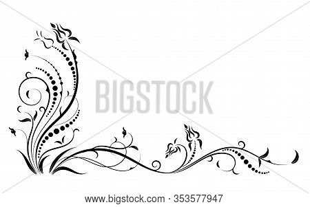 Floral Elements Design, Luxury Ornamental Graphic Element Border, Swirls Flowers,foliage Swirl Decor