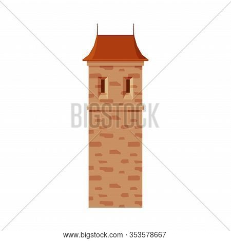 Stone Castle Tower, Part Of Medieval Ancient Fortress Or Stronghold Vector Illustration