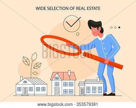 Real Estate Advantage Concept. Idea Of Wide Selection Of House