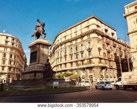 Naples, Italy - August 22, 2019: Piazza Giovanni Bovio, Public Square In Naples, Italy.