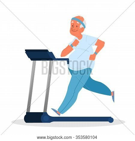 Old Man In The Gym. Senior Training On Treadmill. Fitness Program