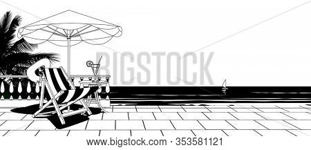 White terrace with balustrade, umbrella, beach chair and against the sea panorama view. Linear comic black and white stylized drawing.
