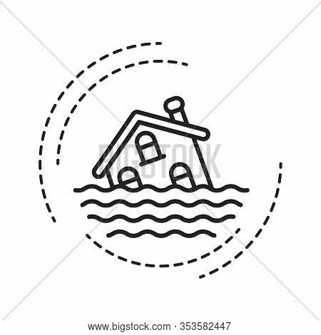 Flood Black Line Icon. An Overflow Of Water That Submerges Land That Is Usually Dry. Pictogram For W