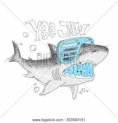 Shark Cartoon Vector Illustration Yee Jaw Print