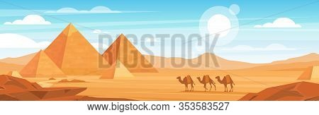 Pyramids In Desert Flat Vector Panoramic Illustration. Egyptian Landscape At Daytime Cartoon Backgro