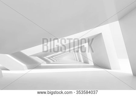 Abstract Cg Background With Empty White Endless Tunnel Interior Perspective. 3d Rendering Illustrati