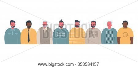 Men's Community. Male Solidarity. Stronger Together Concept. There Are Men Of Different Races, Diffe