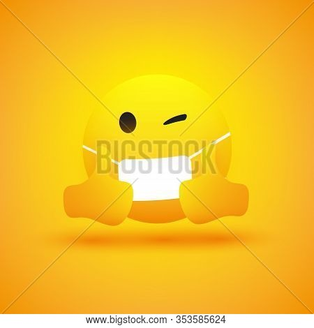 Emoji - Simple Emoticon With Winking Eye, Showing Thumbs Up And Wearing Medical Mask - Vector Design